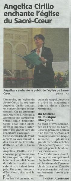 Nice Matin: Angelica Cirillo enchante l'église du Sacré-Coeur